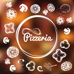 Pizzeria identity concept. Chalkboard toppings as frame on blurred background