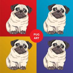 Lovely pug puppy. Cartoon character.