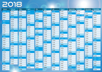Kalender 2018 blau