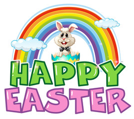 Happy Easter poster with bunny and rainbow