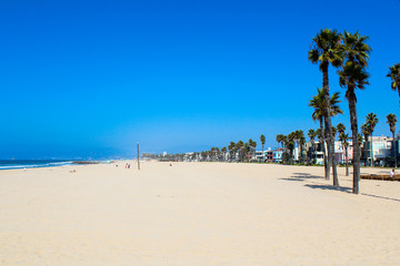 Beautiful Venice beach area in Los Angeles with golden beach blue sky and palms. Infinite white sand beach. California dreaming.