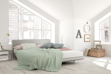 White bedroom with urban  landscape in window. Scandinavian interior design. 3D illustration