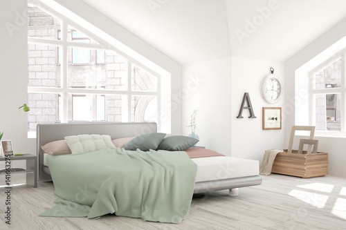 White Bedroom With Urban Landscape In Window
