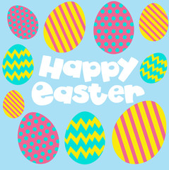 Happy Easter poster with eggs on blue background