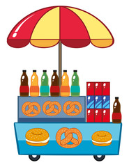 Food vendor with drinks and pretzle