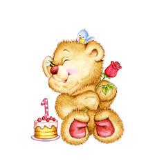 Birthday Teddy Bear with flower and cake