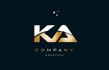 Obraz ka k a  white yellow gold golden luxury alphabet letter logo icon template - fototapety do salonu