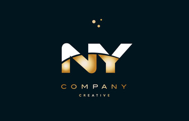 ny n y  white yellow gold golden luxury alphabet letter logo icon template