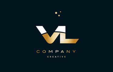 vl v l  white yellow gold golden luxury alphabet letter logo icon template