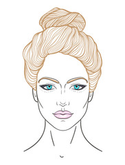 Beautiful girl face with top knot hair style, make up and neutral expression. Hand drawn woman portrait stylized in lines. Decorative vector illustration