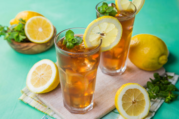 Ice tea in glasses