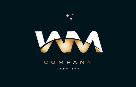 wm w m  white yellow gold golden luxury alphabet letter logo icon template