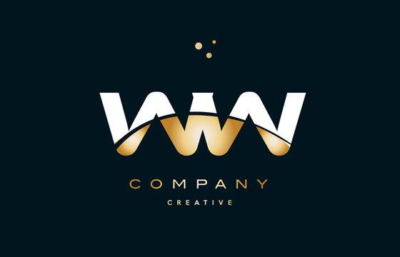 ww w  white yellow gold golden luxury alphabet letter logo icon template