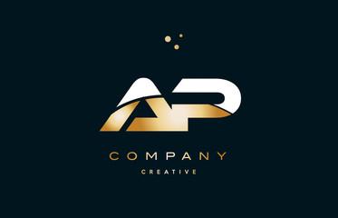 ap a p  white yellow gold golden luxury alphabet letter logo icon template