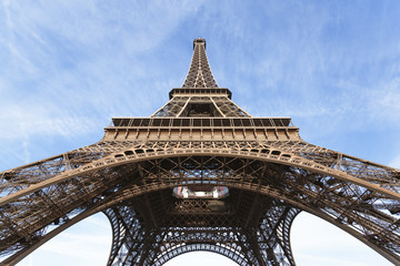 Low angle view of Eiffel Tower against sky