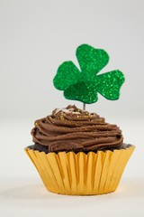 St Patricks Day shamrock on the cupcake