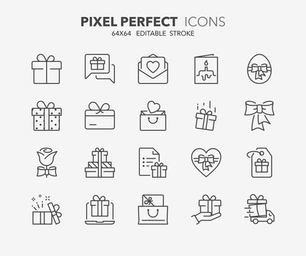 gifts thin line icons