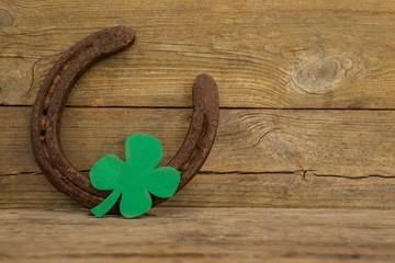 St Patricks Day shamrock with horseshoe