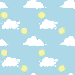 Vector seamless pattern with a sunny day sky