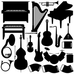 Outline a set of musical instruments