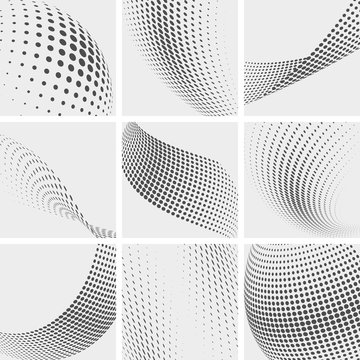 Halftone dots, group pointing abstract vector backgrounds