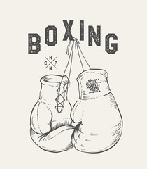 Boxing Gloves vector illustration. Print design t-shirt