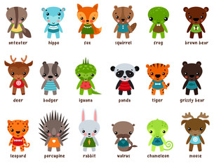 Chameleon and moose, leopard cartoon baby animals