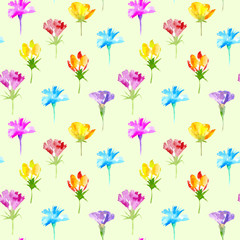 Floral seamless pattern of a wild flowers. Buttercup, cornflower, bluebell, snowdrop flowers. Watercolor hand drawn illustration.Yellow background.