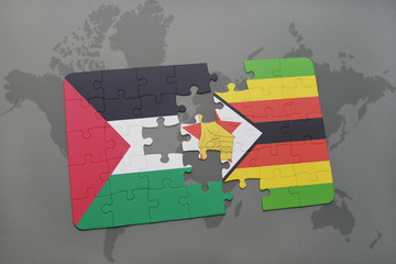 puzzle with the national flag of palestine and zimbabwe on a world map