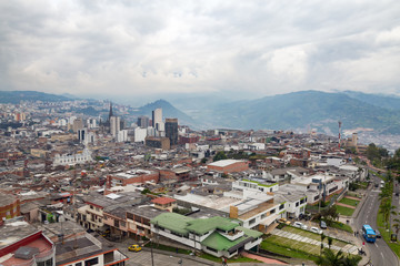 Late afternoon view of Manizales, Colombia.