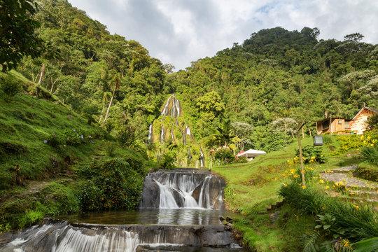 Long exposure waterfall at the Santa Rosa Thermal Spa near Santa Rosa de Cabal in Colombia.