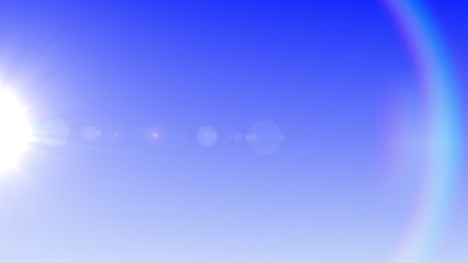 Sun lens flare in blue background horizontal frame (very high resolution)