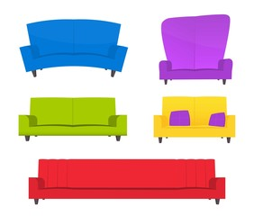 creative furniture icons set flat design. Abstract Creative Funny Cartoon Sofa Set Isolated On Transparent  Background. For Web And Mobile App Furniture Icons Flat Design