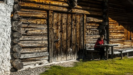 Rest in a mountain hut, Badia Valley, dolomites, italy