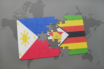 puzzle with the national flag of philippines and zimbabwe on a world map