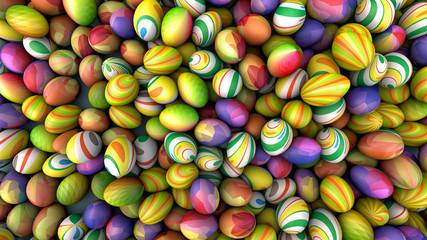 Background of eggs with bright patterns, holiday concept, 3d illustration.