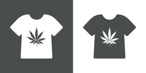 Icono plano camiseta con hoja marihuana gris y blanco