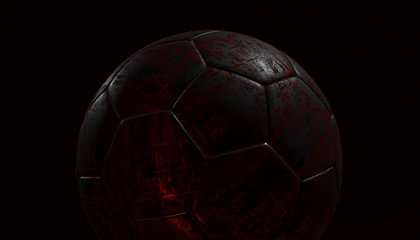 Silver soccer ball on various material and background, 3d rendering