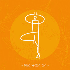 Yoga pose icon, linear logo design, line yoga badge. Graphic design element in contour for creation of banner for spa center of yoga school studio. Decorative vector element with yoga symbol