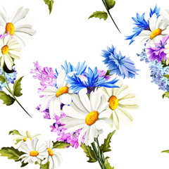 Seamless pattern of camomile (chamomile), cornflowers on white. Vector - stock.