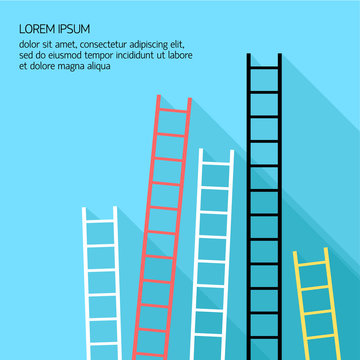 Step ladder Vector illustration Five multicolored step ladders standing at a blue wall Banner template with place for inscription Flat design
