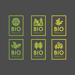Isolated Vector Style Illustration Logo Set Badge Fresh Organic, Eco Product, Bio Ingredient Label Badge with Leaf, Earth, Green Concept Gradient Colour