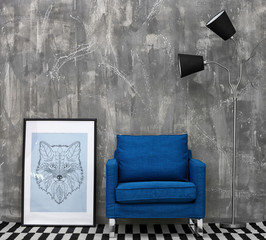 New blue armchair in modern room