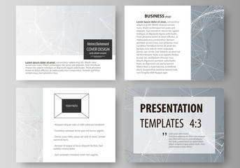 Set of business templates for presentation slides. Abstract vector layouts in flat design. Chemistry pattern, connecting lines and dots, molecule structure, scientific medical DNA research.