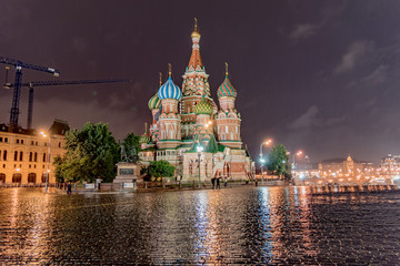view of the city of Moscow in Russia, famous for Red Square and the colorful St. Basil's Cathedral