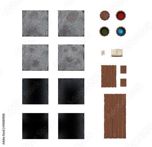 Set of fantasy or medieval board game map elements  Tiles
