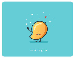 Vector  icon of mango fruit funny cartoon character