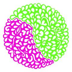 Doodle pink green circle ornamental mandala vector