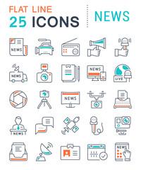 Set Vector Flat Line Icons News