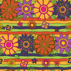 bright psychedelic flowers  lines seamless pattern